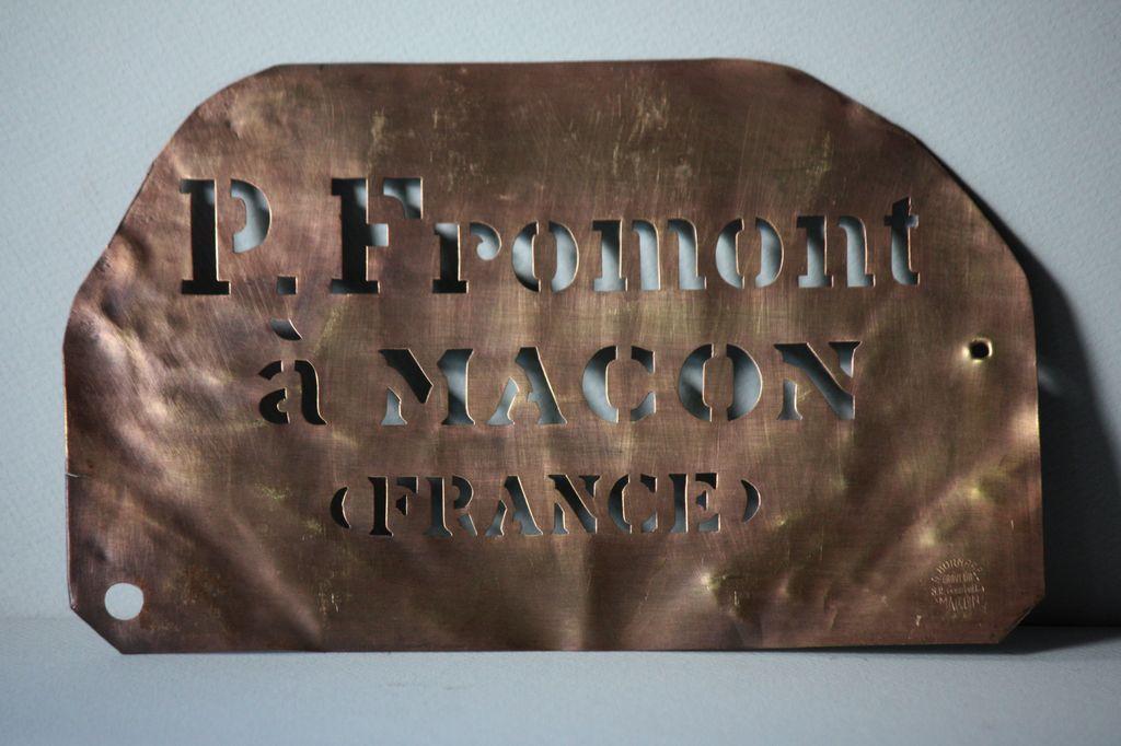 Antique French Copper Metal Wine Merchants Crate Stencil