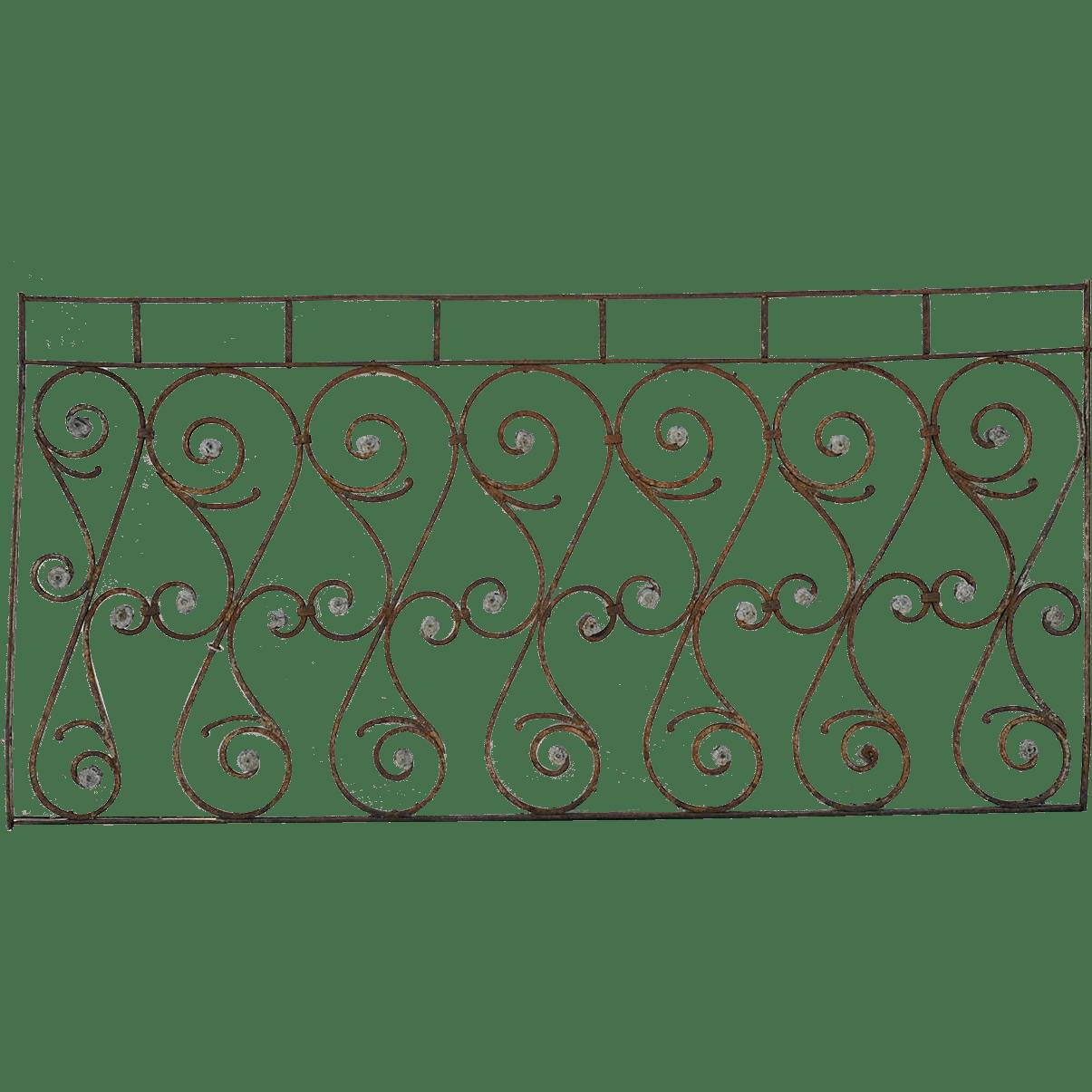 French 19th Century Wrought Iron Balcony Railing : Eron
