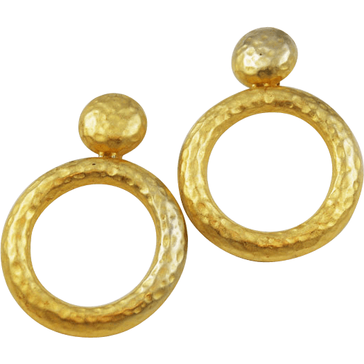Erwin Pearl Large Hoop Clip On Earrings Hammered Finish