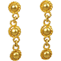 Erwin Pearl Designer Gold Plated Dangle Clip On Earrings