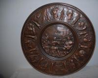 An Antique Copper Decorative Wall Relief / Plate, portrait ...