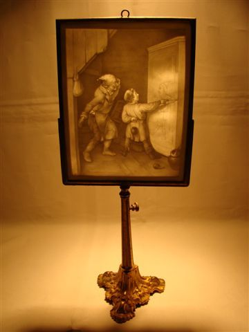 Antique French Lithophane candle screen 1800s  Finer