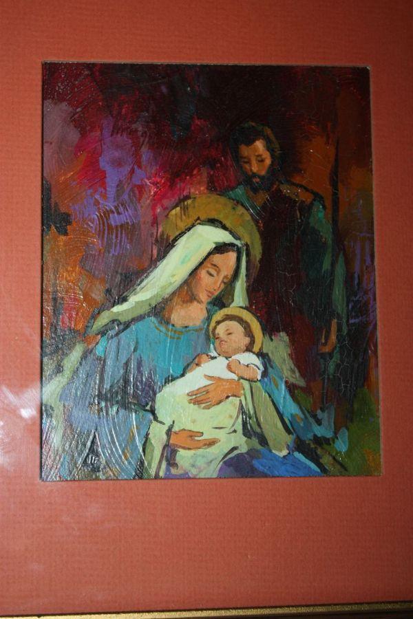 Vintage Norcross Christmas Nativity Painting Original Art