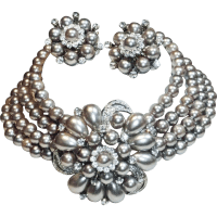 Silver Gray Faux Pearl Rhinestone Choker Necklace and ...
