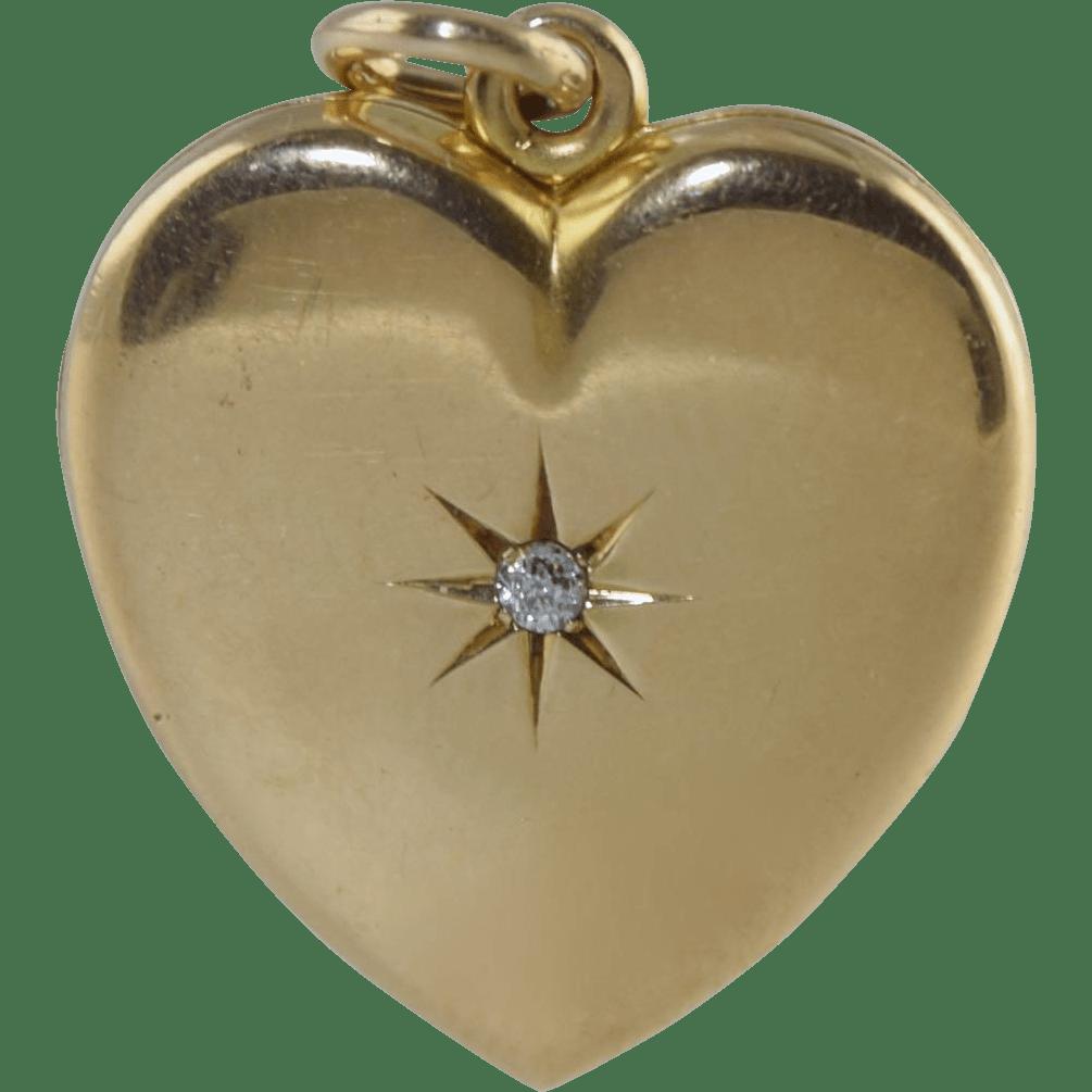 Antique Victorian 14k Heart Diamond Locket Pendant 6.9