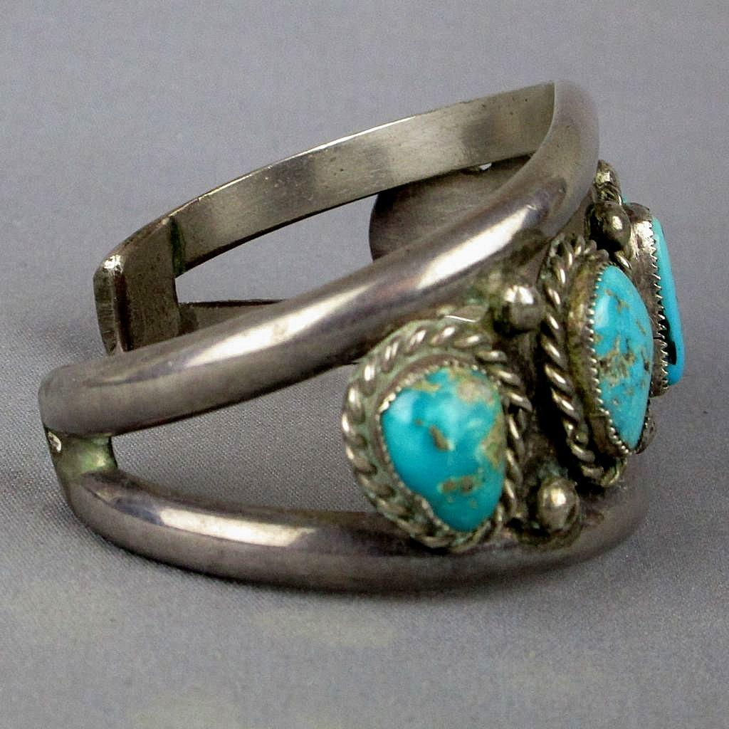 Mens Navajo Sterling Silver Turquoise Cuff Bracelet From