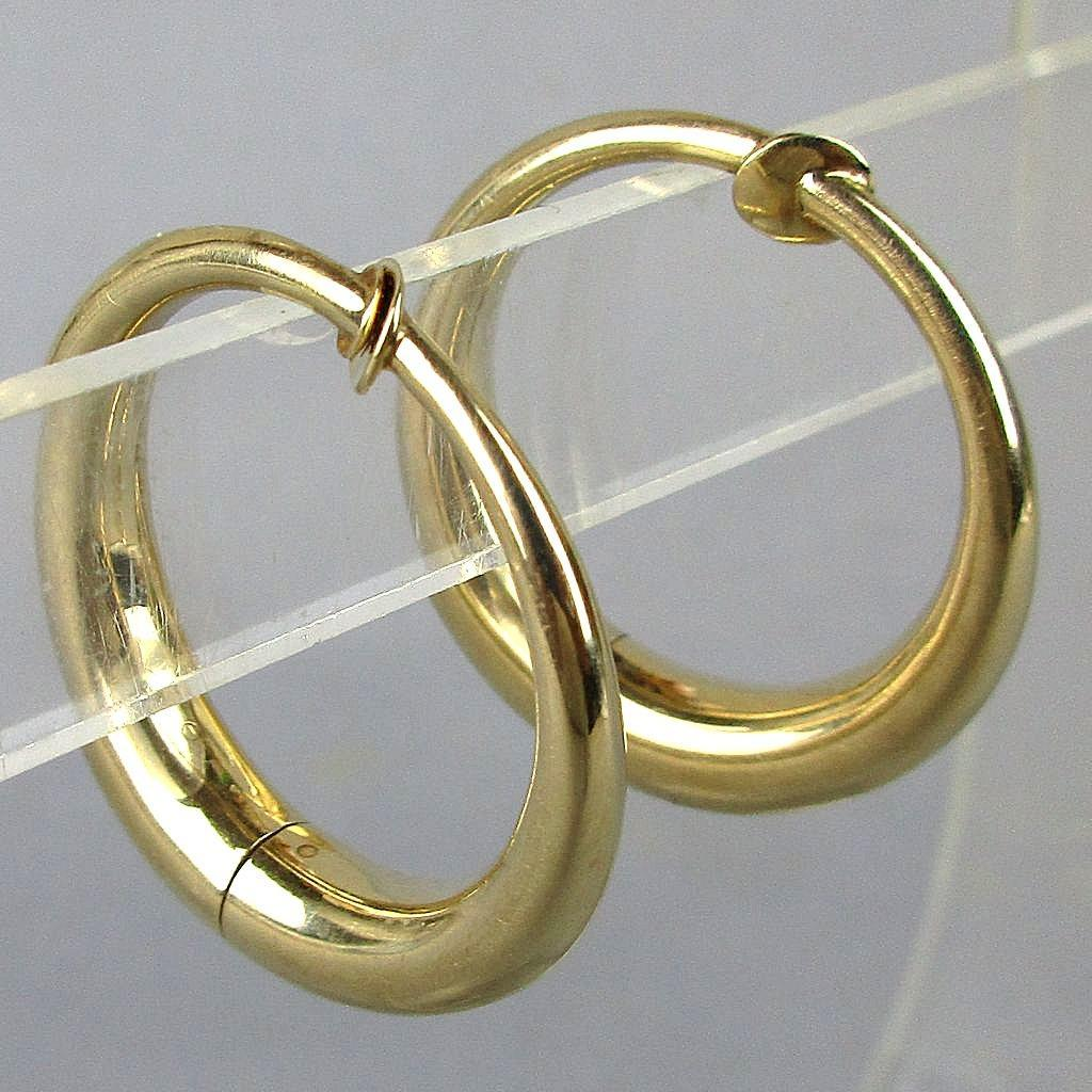Modernist 14k Yellow Gold Hoop Earrings With Twist Greatvintagestuff Ruby Lane