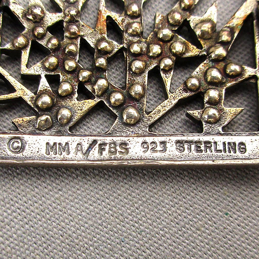 Vintage Mma Fbs 925 Sterling Silver Crystal Brooch Pin