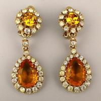 Vintage CINER Rhinestone Drop Earrings - Gorgeous Clips ...