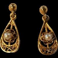 14K Gold screw back earrings pearl SOLD on Ruby Lane
