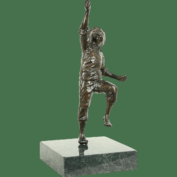 Bronze Vintage Sculpture Of Running Boy Marble Base