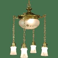 Brass 1910 Antique Ceiling Light Fixture, 5 Cut Glass ...