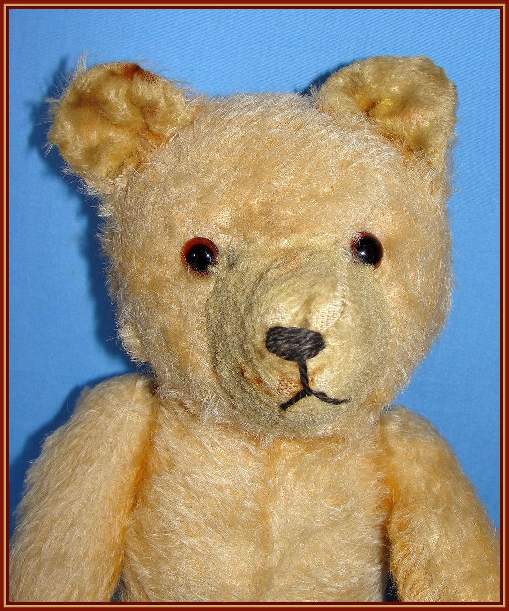 Early straw stuffed Mohair Teddy Bear  Looks like an old Pooh Bear from heirloomdolls on Ruby Lane