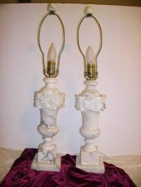 Vintage Alabaster Marble Carved Pair Lamps with Finials ...