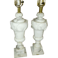 Vintage Italian Alabaster Carved Marble Lamps Pair from ...