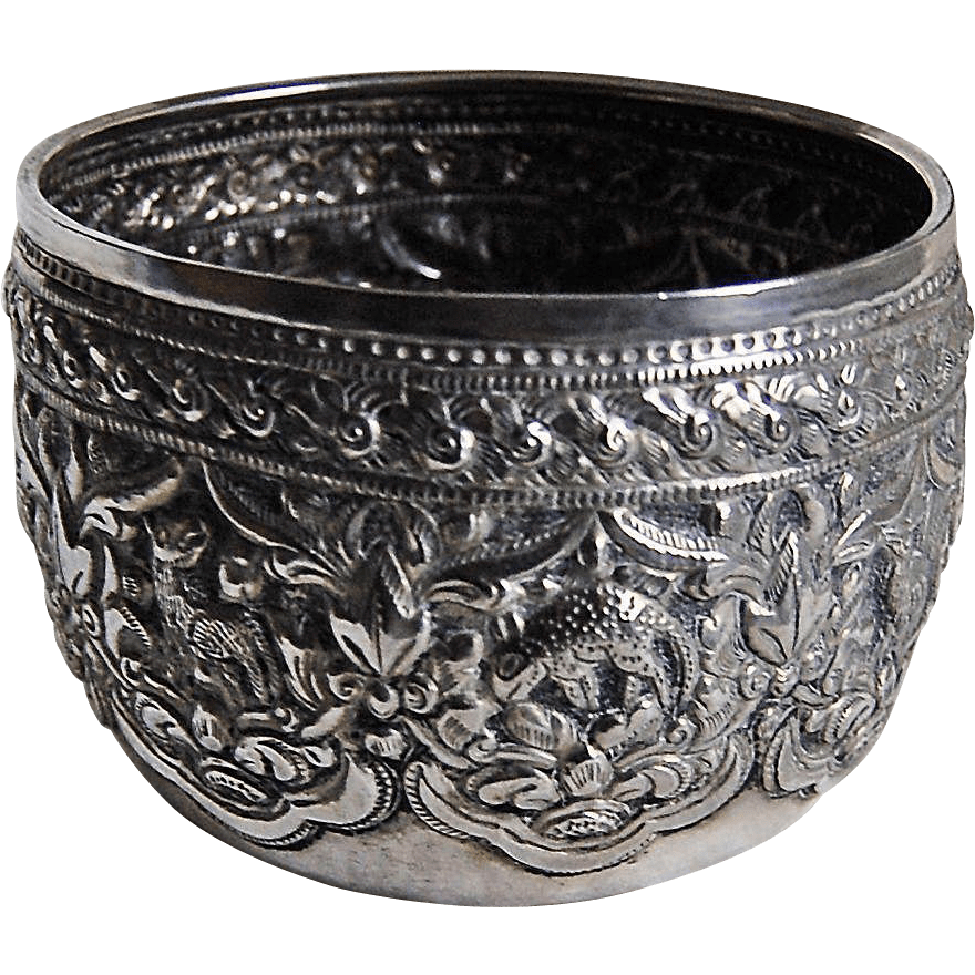 Thai Silver Bowl With Animals - Solid Heavily