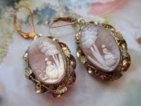 Antique Victorian Cameo Drop Pierced Earrings from