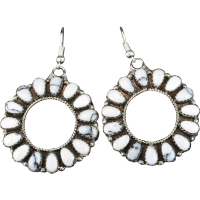White Buffalo Hoop Earrings from the-rose-gallery on Ruby Lane