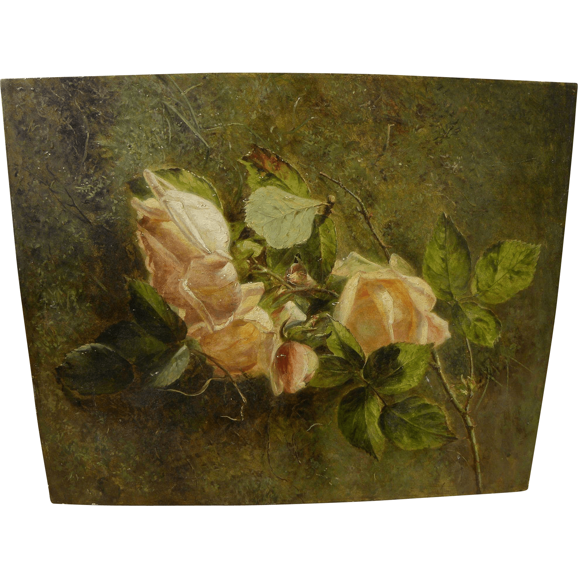 American Art Late 19th Century Realistic Fine Oil Painting Of Roses Sold Ruby Lane