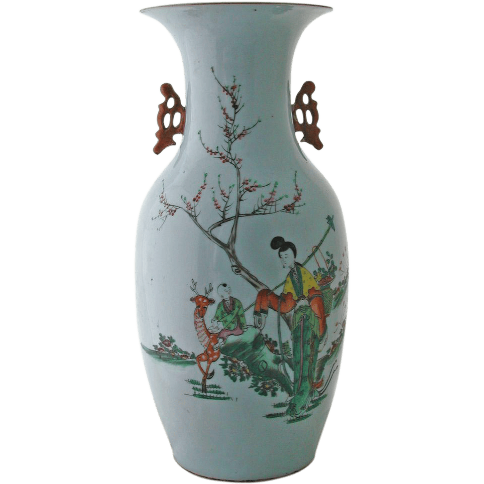 Antique Chinese Porcelain Vase With Handles From