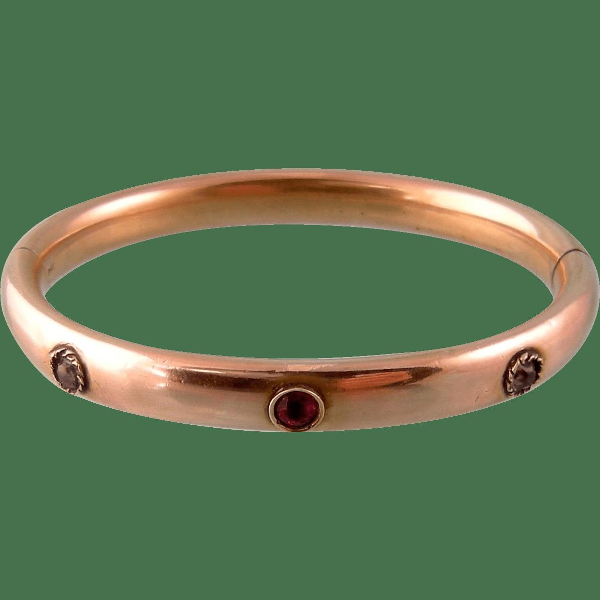 Antique Bangle Bracelet With Garnet And Diamond Paste