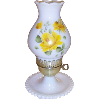 Vintage Hand Painted Yellow Roses Electric Hurricane Lamp ...