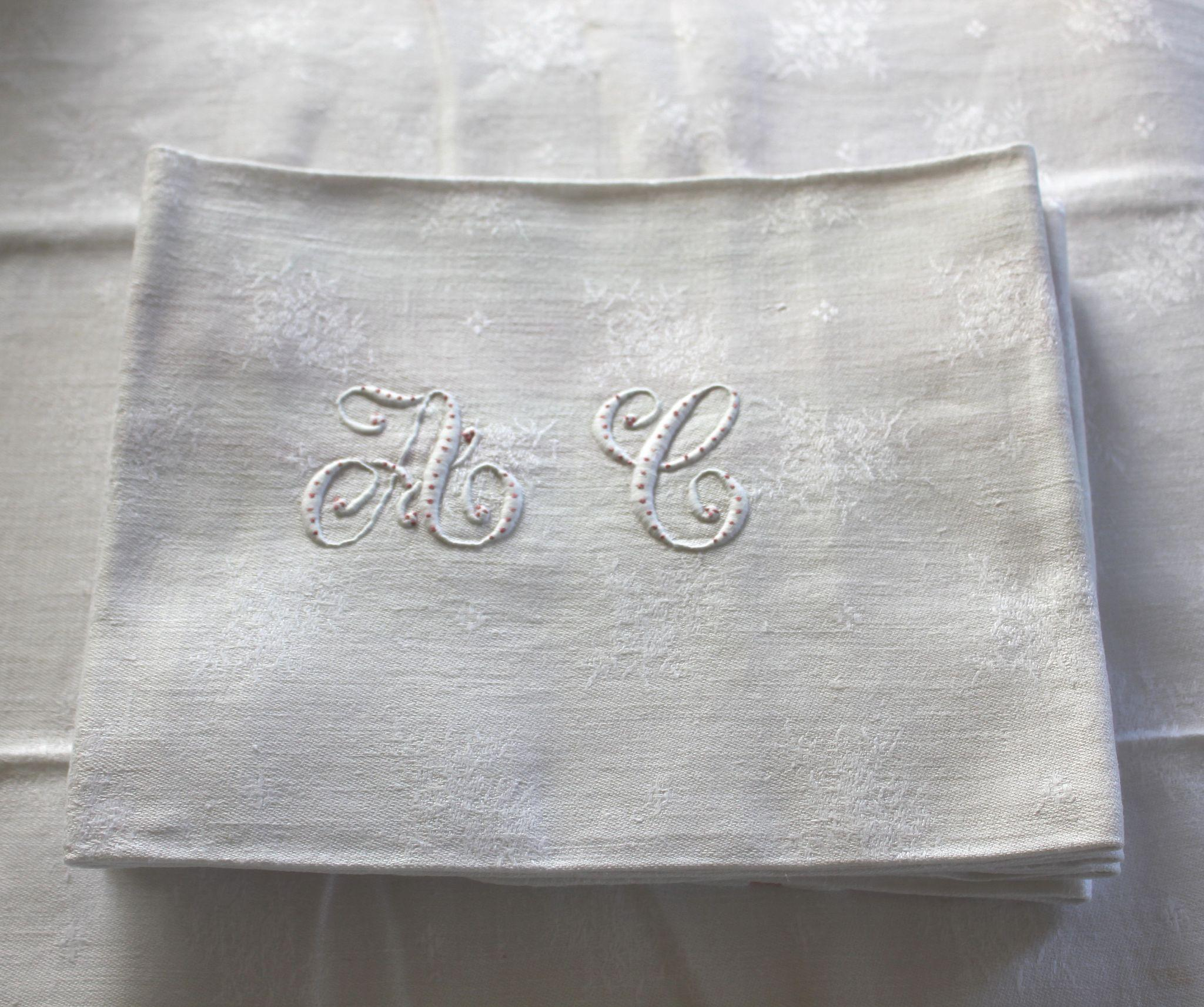 12 Antique French Linen Monogrammed Napkins A C, w ...