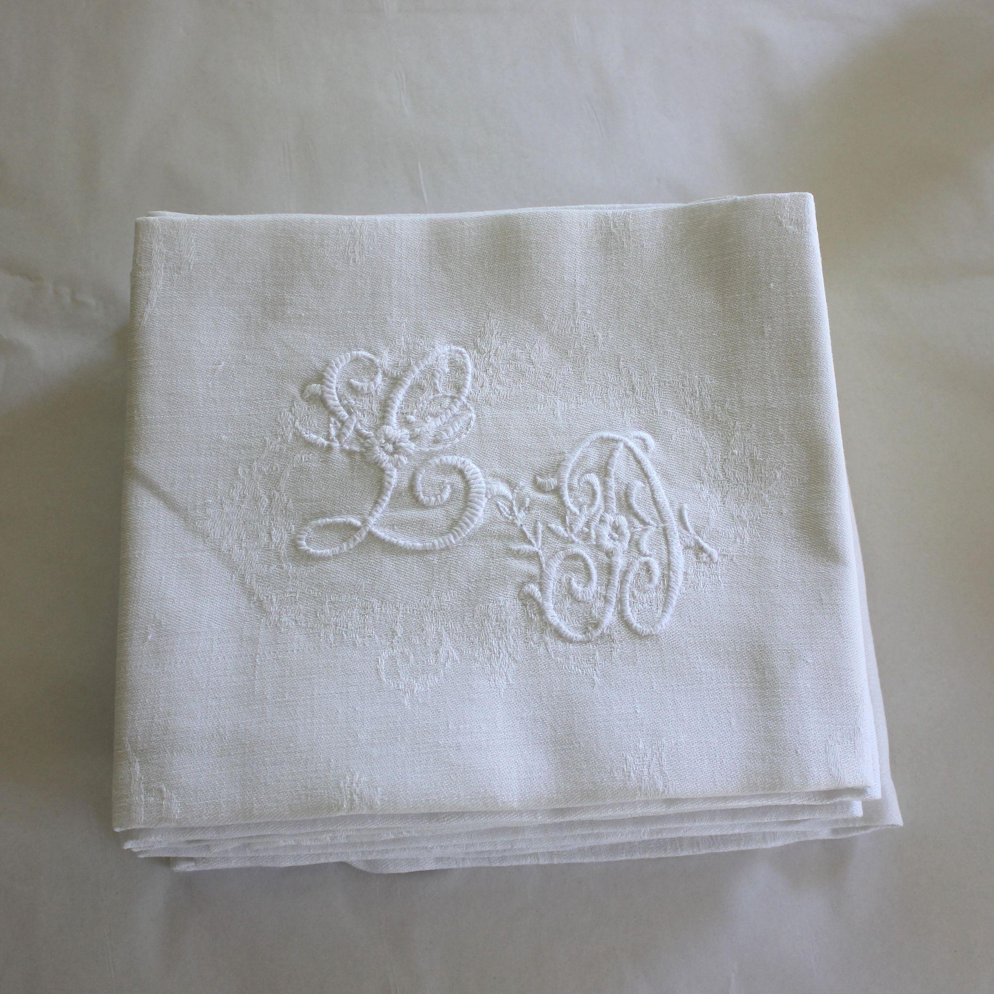 Set of 12 Antique French Linen Napkins Monogrammed L D ...