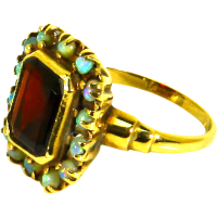 Victorian 10K Gold Garnet Opal Ring  Plainville Stock Co ...