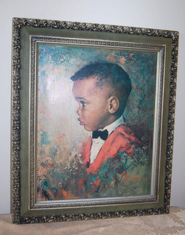 1970 Black Boy Huge Framed Print Signed . Runci