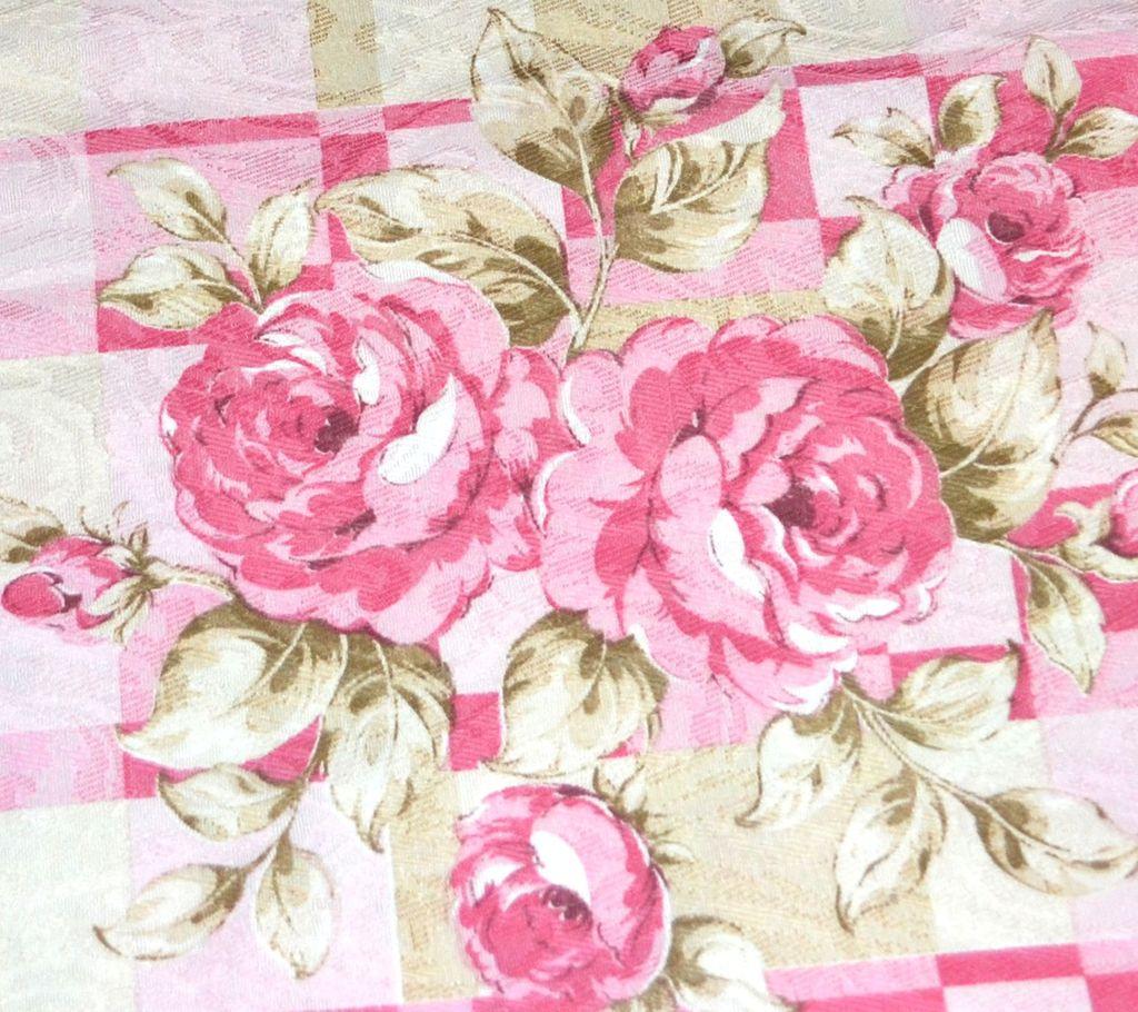Vintage Pink Rose Damask Polyester Fabric 36 X 45 Bolt