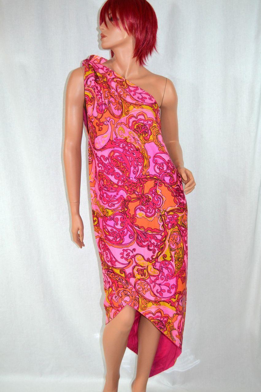 1960s Nikki' Pucci-inspired Pink Paisley Sarong Dress