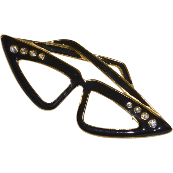 Eyeglass Holder Enamel Cat/'s Eye Glasses Brooch