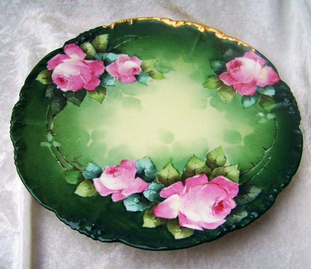 """Vintage 1900' .l. France Limoges Hand Painted """"pink"""