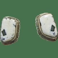 White Buffalo Sterling Silver Clip Earrings