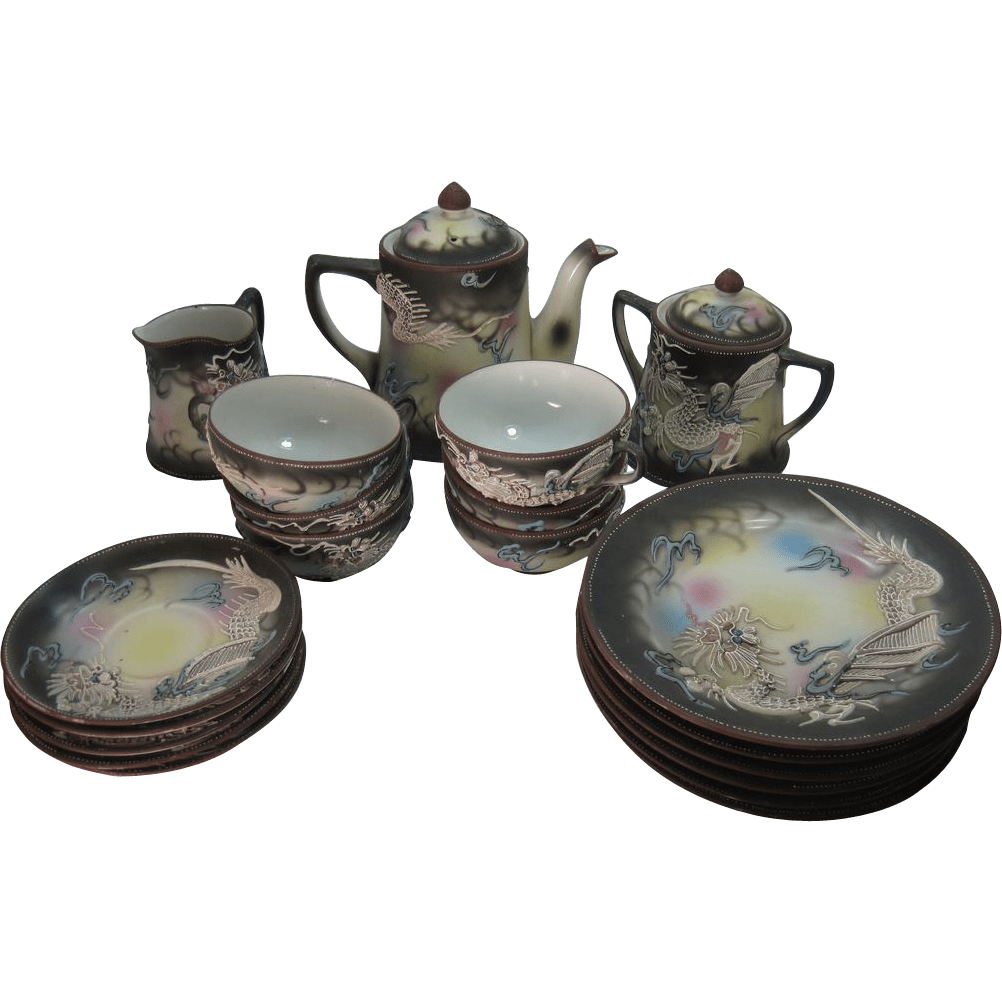 Antique Japanese Tea Set Dragon - Year of Clean Water
