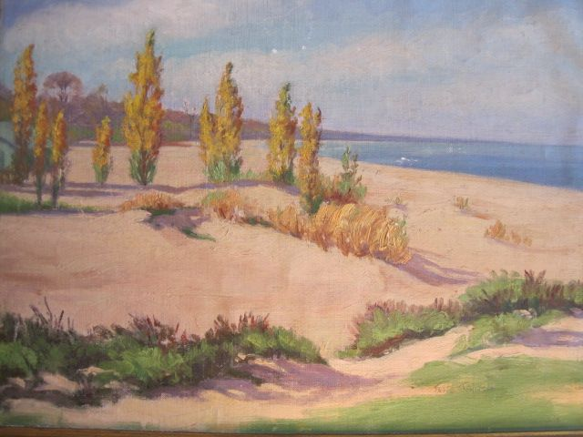 Vintage Painting Oil On Canvas Beach Scene From