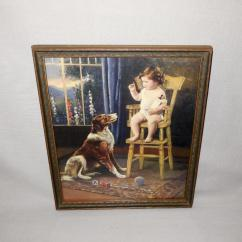 Dog High Chair Coffee Chairs Vintage Calendar Print Of Baby In With Collie