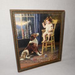 Dog High Chair Rattan Armchair Uk Vintage Calendar Print Of Baby In With Collie