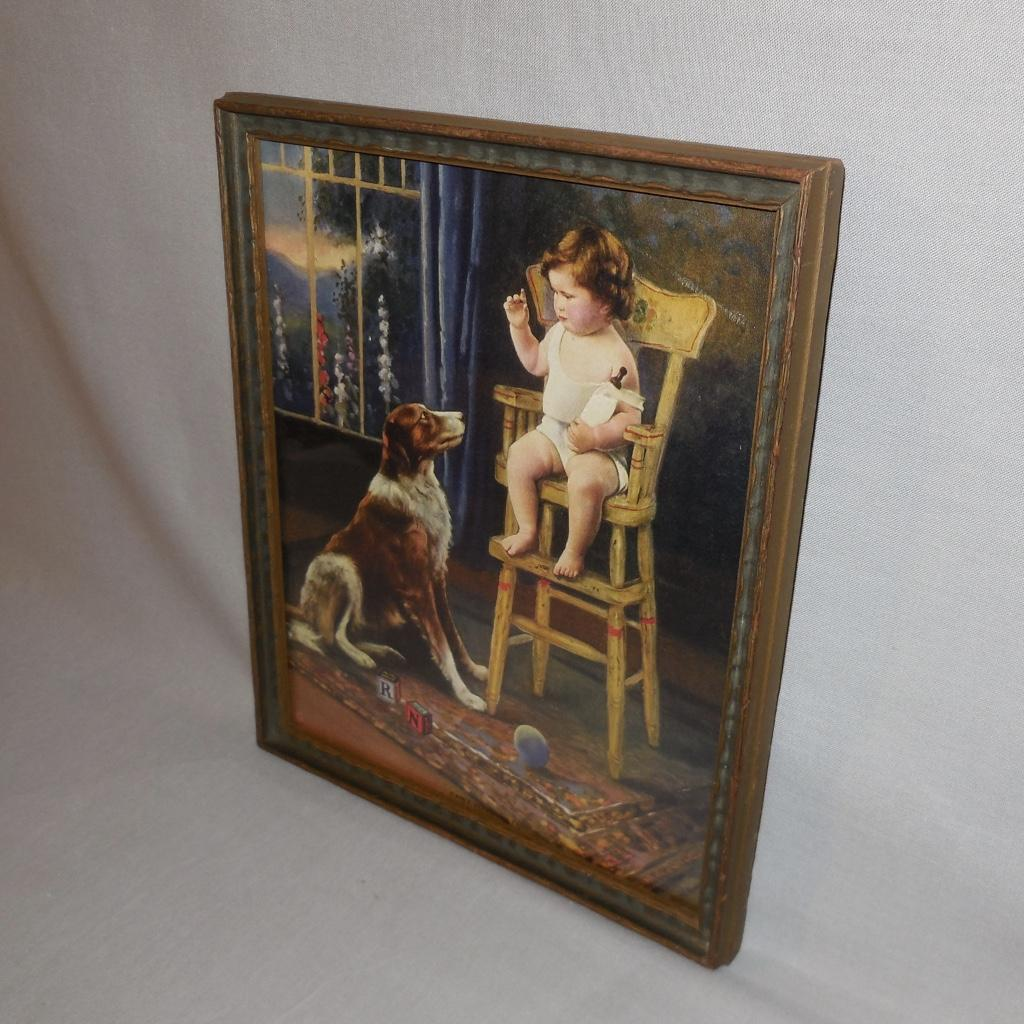 dog high chair vanity chairs with casters vintage calendar print of baby in collie