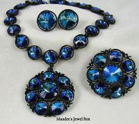 Brilliant Vintage RIVOLI Cobalt Blue Necklace, Clip