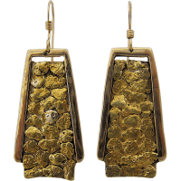 Big 14K Alaskan Gold Nugget Drop Earrings from