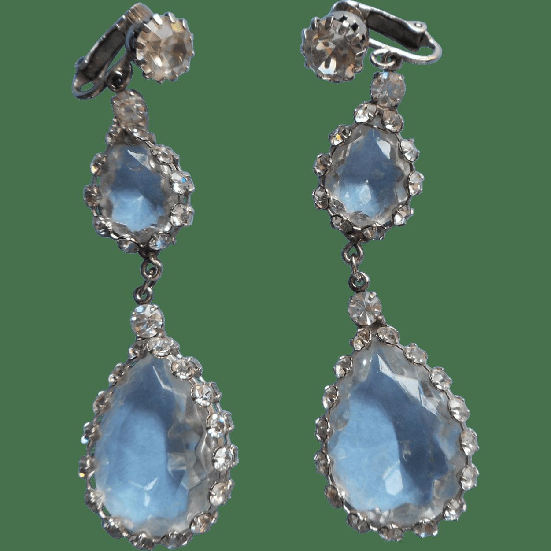Juliana Earrings Vintage Extra Long Dangle Clip Rhinestone