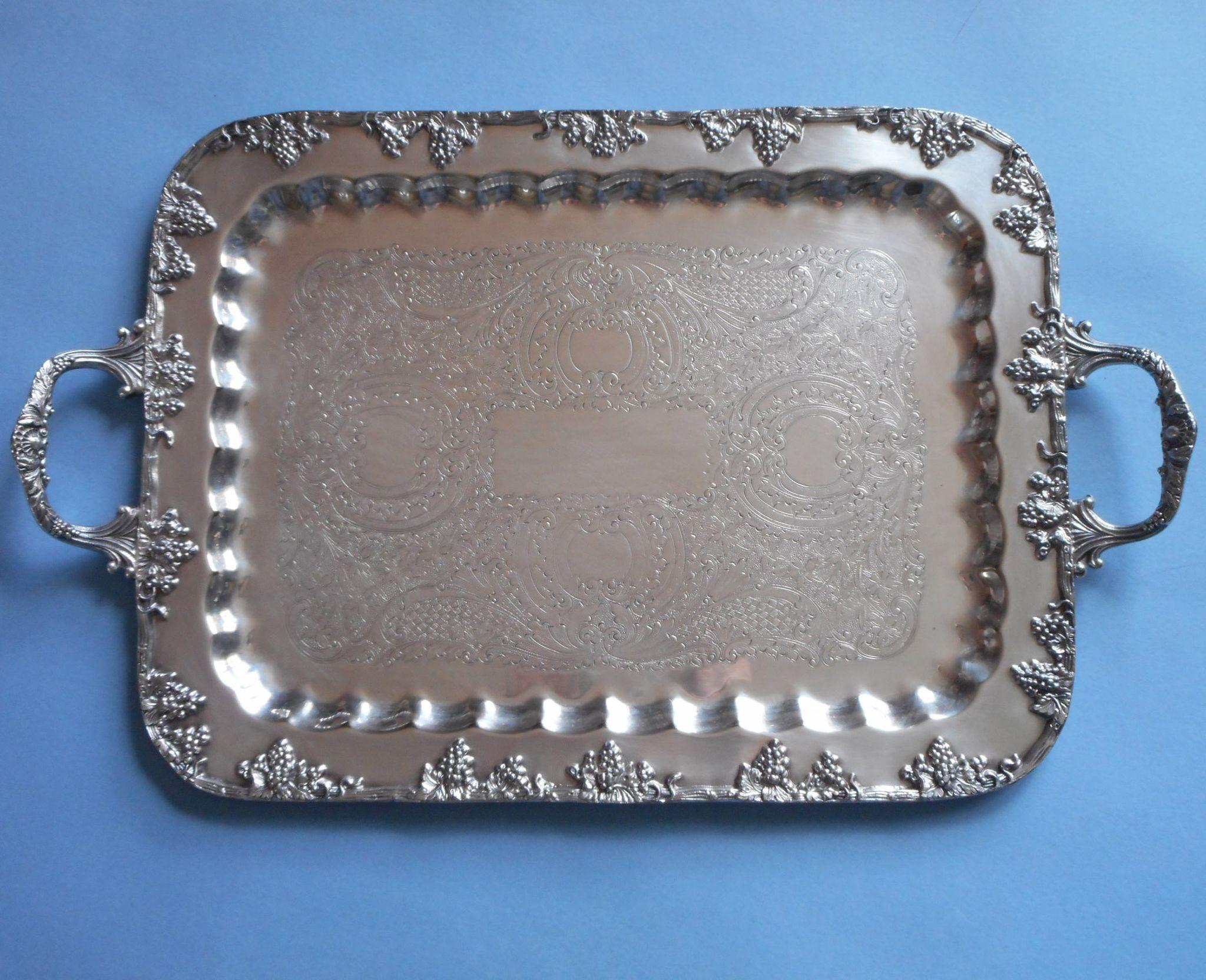 Silver Tray Grapes Vintage Serving Tea Set Handles