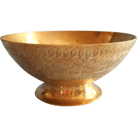 Vintage Brass Fruit Bowl Engraved Leaves Flowers All Over