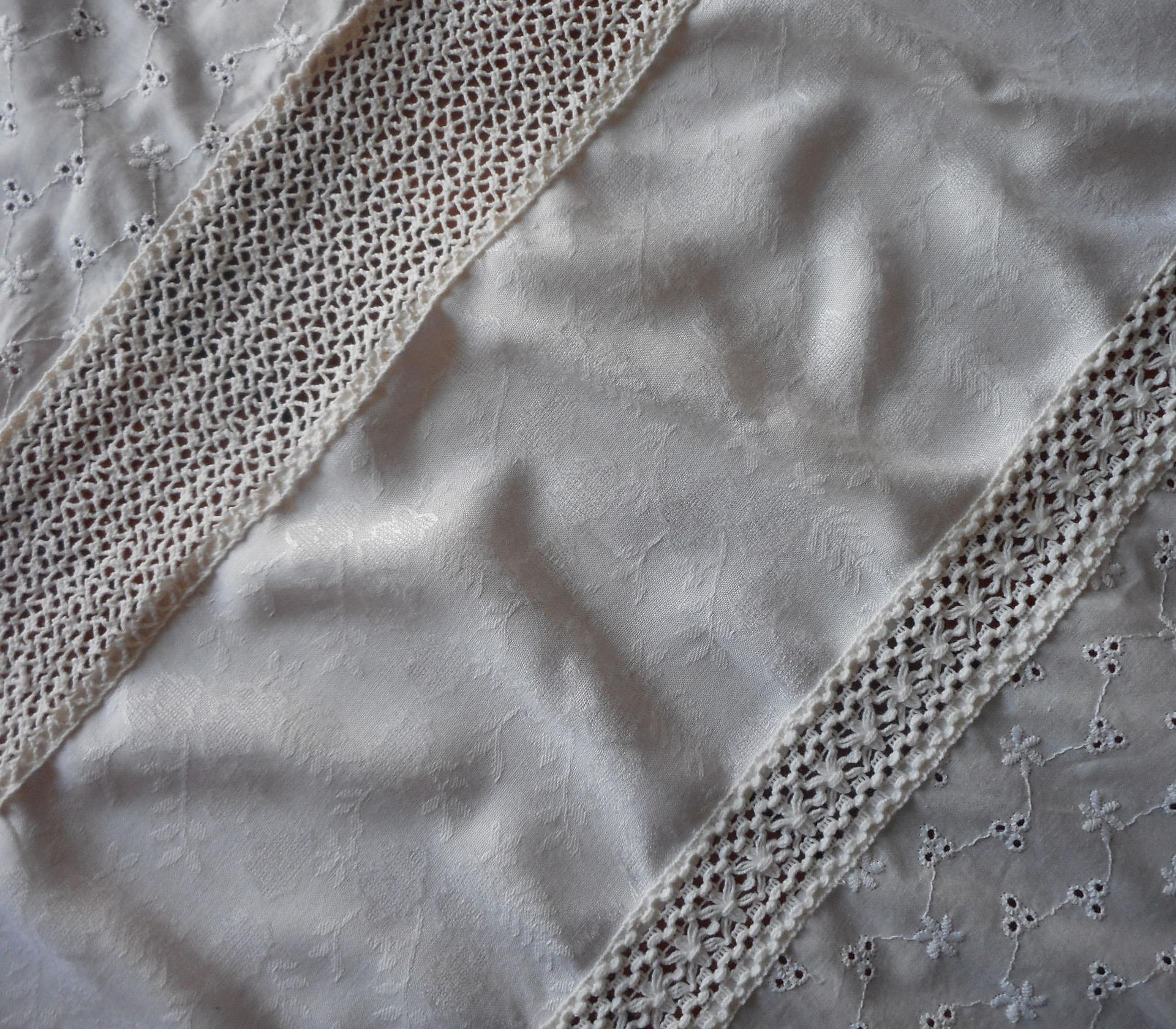 Vintage Curtains Patchwork Eyelet Lace Company Store Pair ...