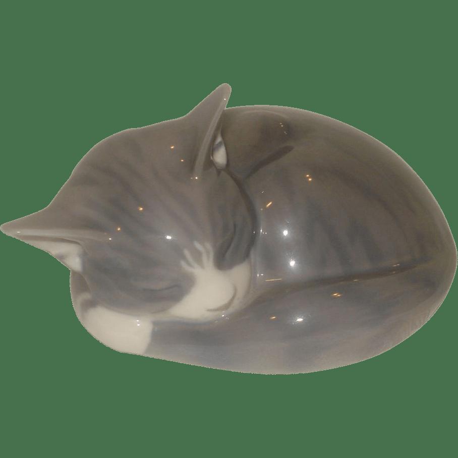Royal Copenhagen Sleeping Cat Figurine Rubylane-sold
