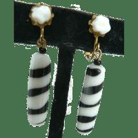 Vintage Miriam Haskell Zebra Stripe Art Glass Dangle ...