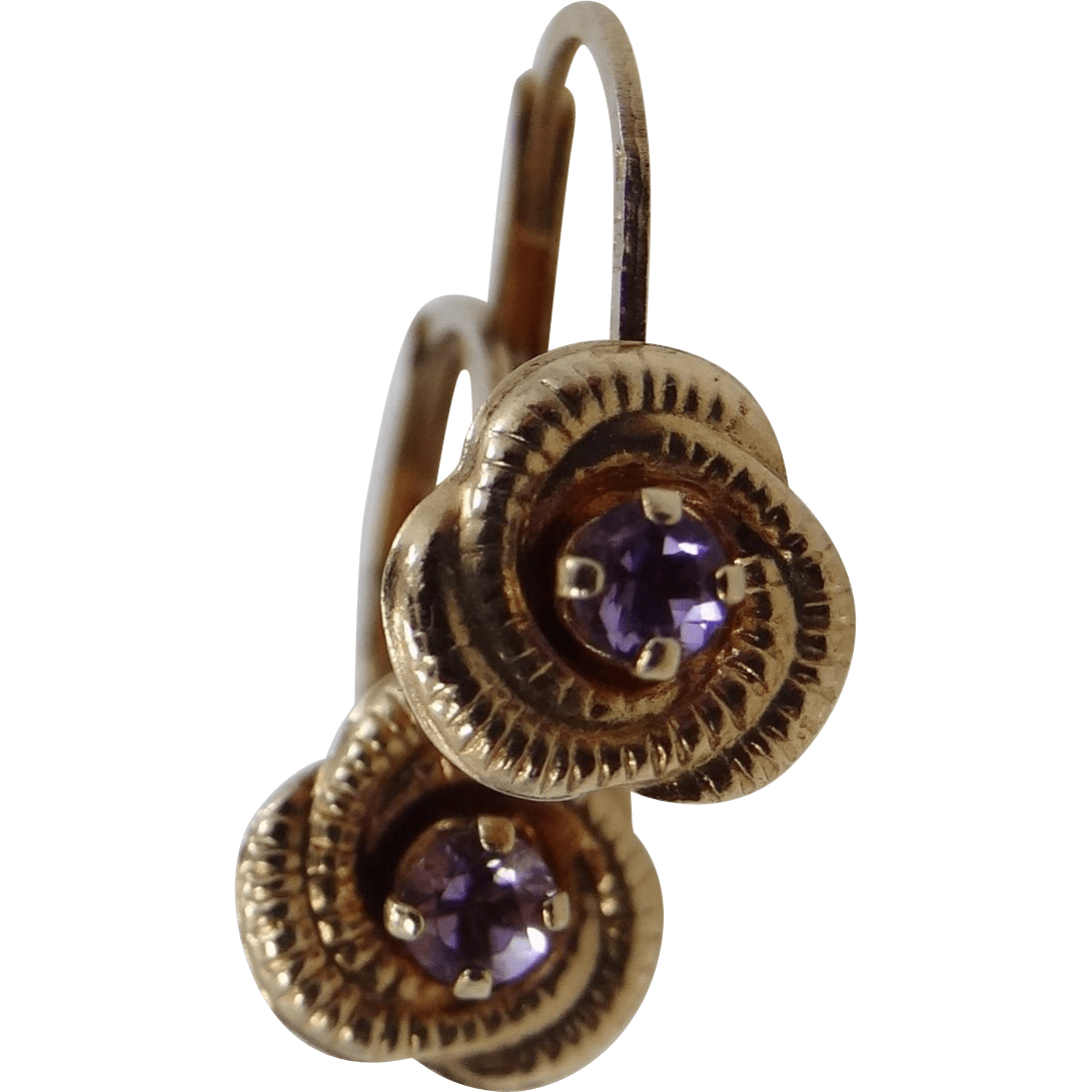 10k Gold Amethyst Lever Earrings Mur-sadies Ruby Lane