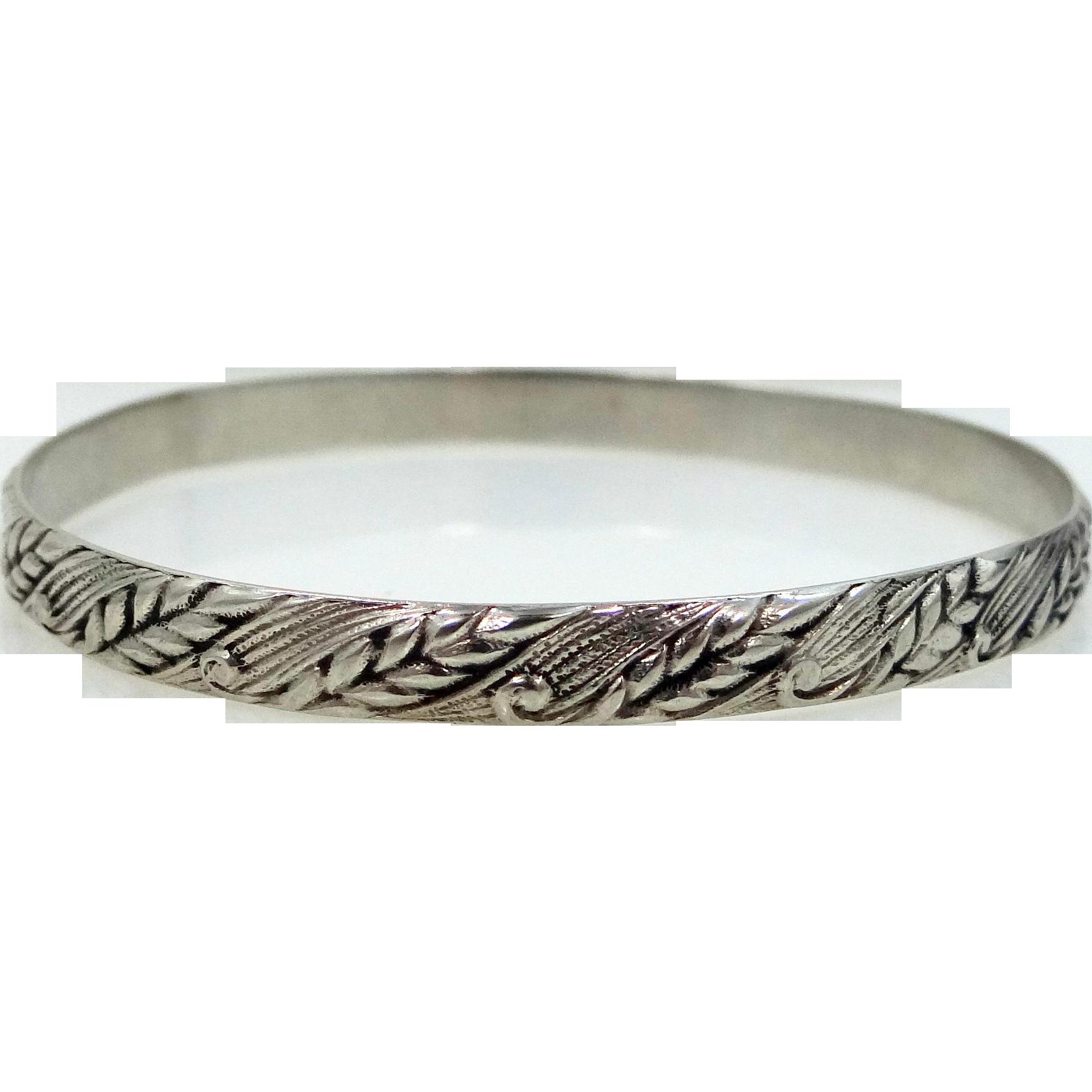 Danecraft Felch . Sterling Silver Bangle Bracelet In